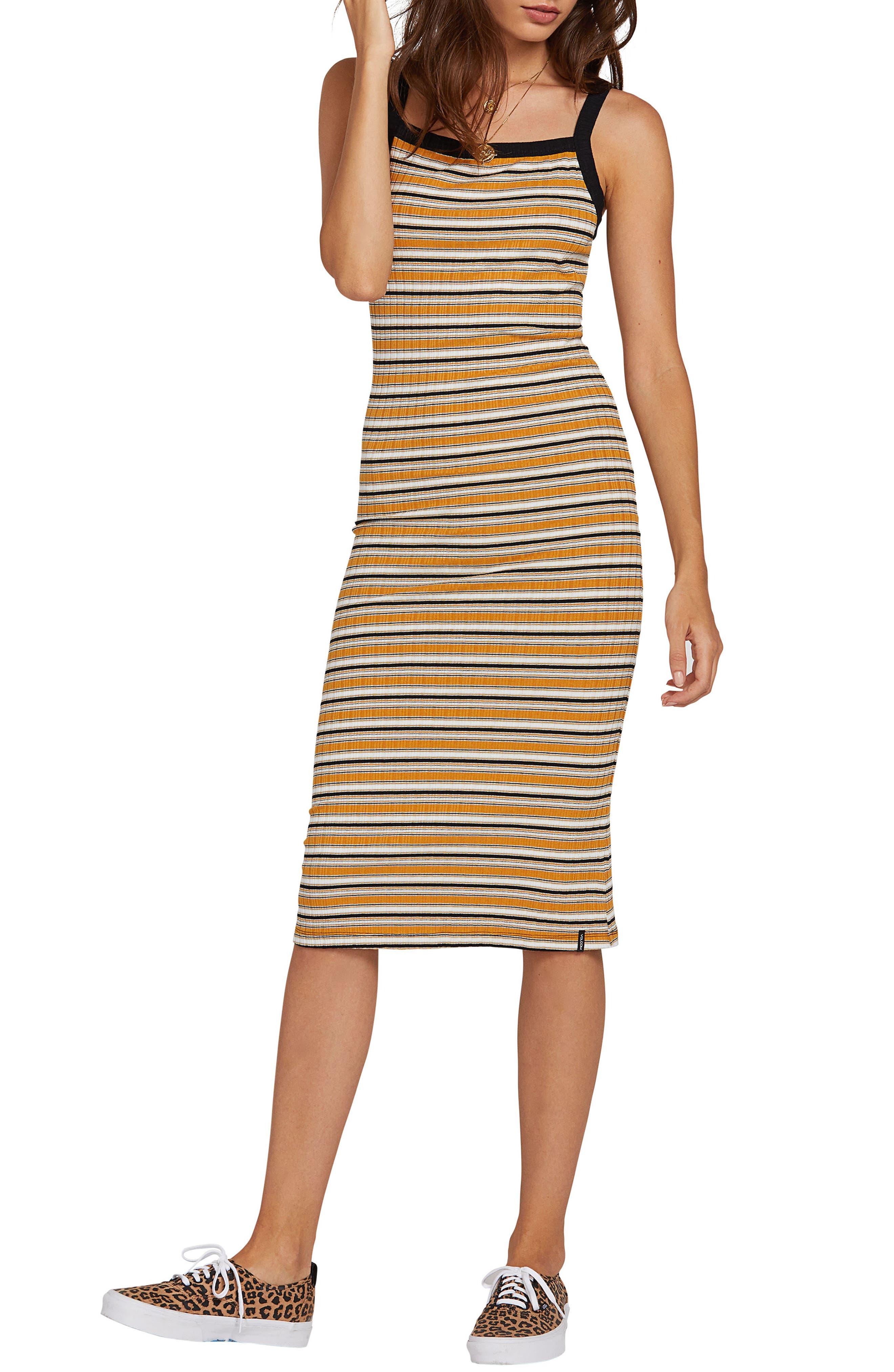 Volcom Stone Stripe Midi Dress, Orange
