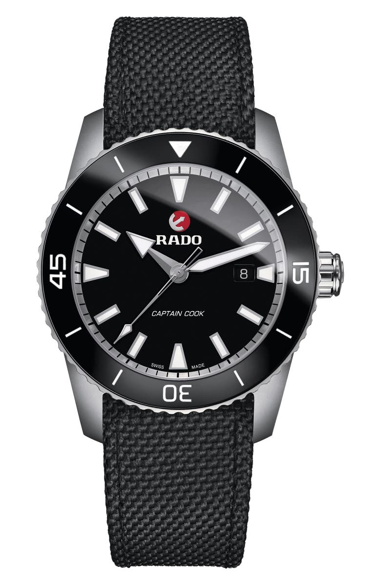 RADO HyperChrome Captain Cook Fabric Band Watch, 45mm, Main, color, 001