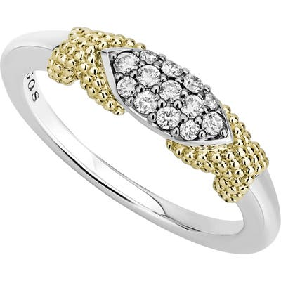 Lagos Caviar Lux Double X Diamond Pave Ring