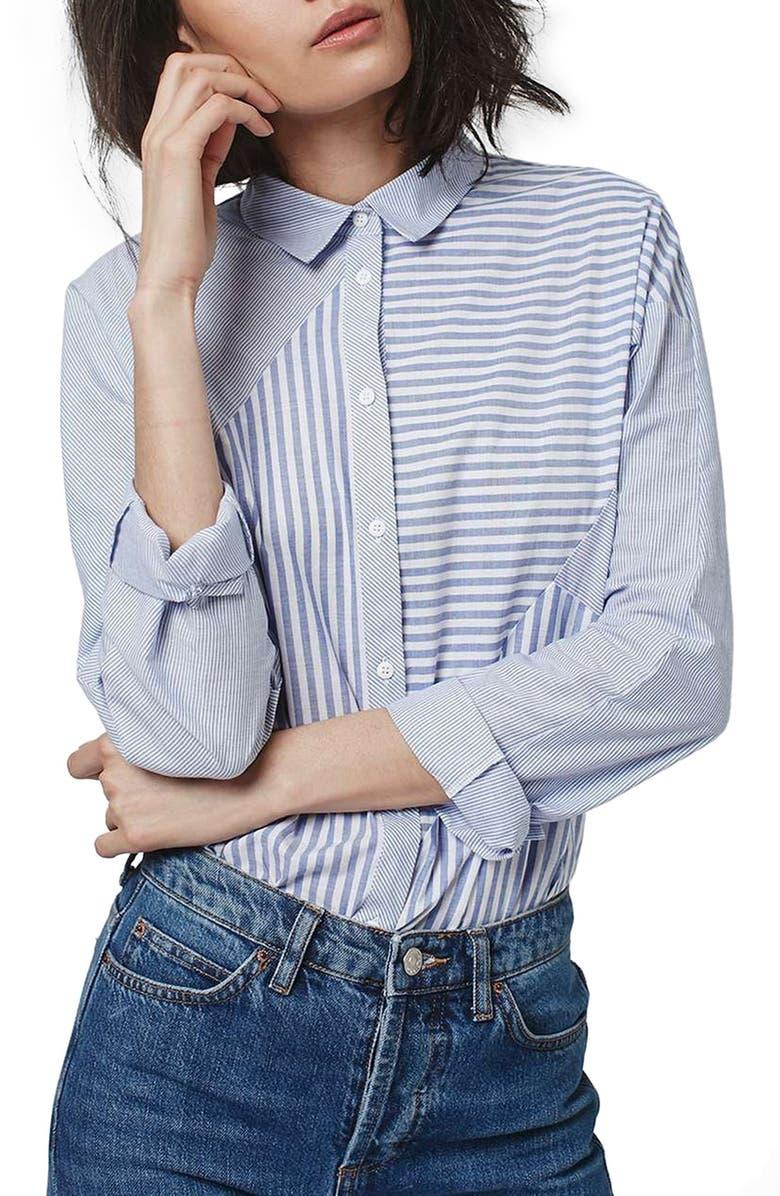 TOPSHOP 'Harper' Mixed Stripe Shirt, Main, color, 450