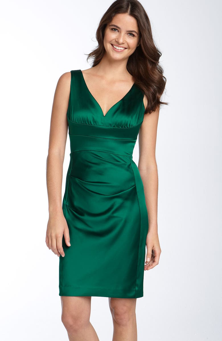 DONNA MORGAN Stretch Satin Sheath Dress, Main, color, 314