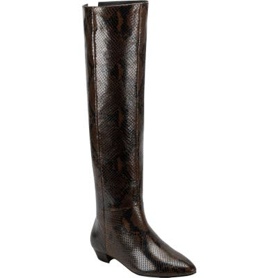 Sigerson Morrison Gareth Snake Embossed Over The Knee Boot - Brown