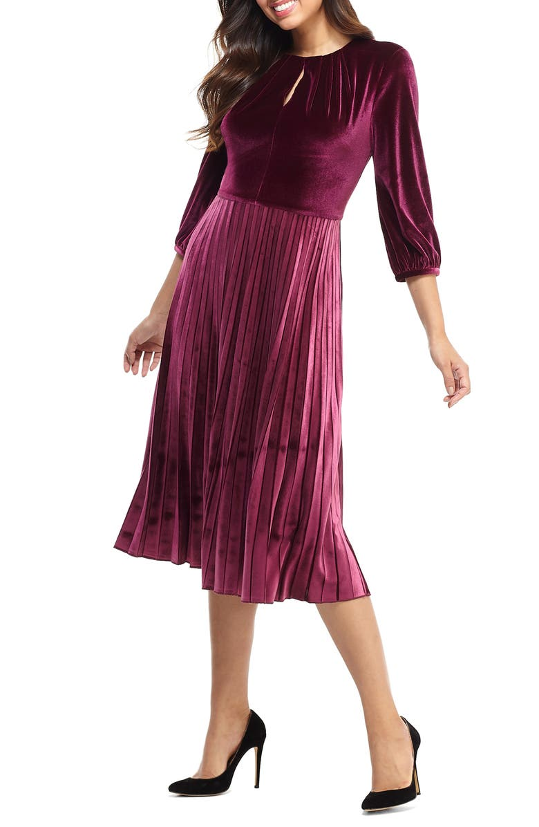MAGGY LONDON Velvet Fit & Flare Dress, Main, color, PORT