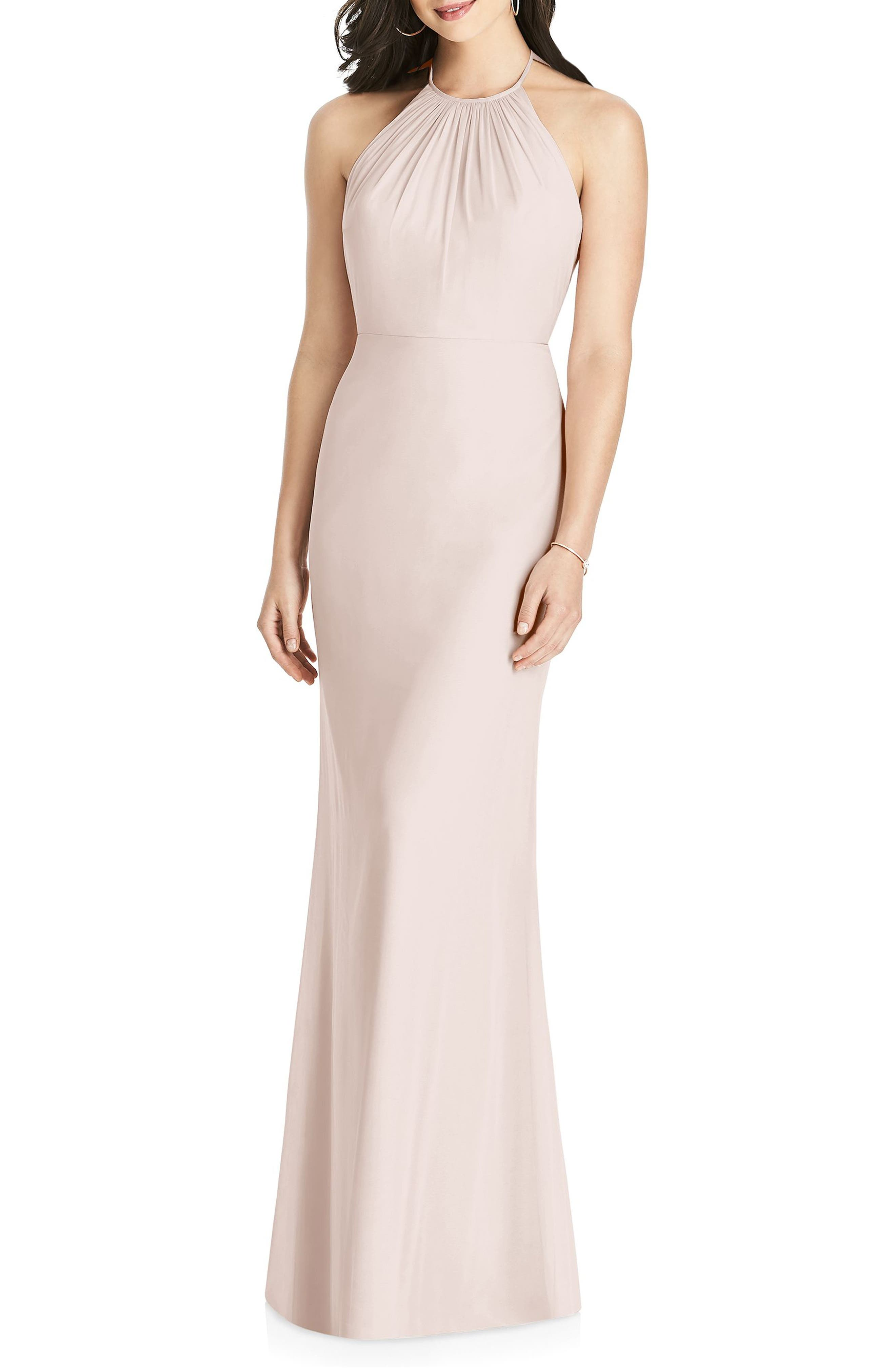 Dessy Collection Ruffle Back Chiffon Halter Gown, Pink