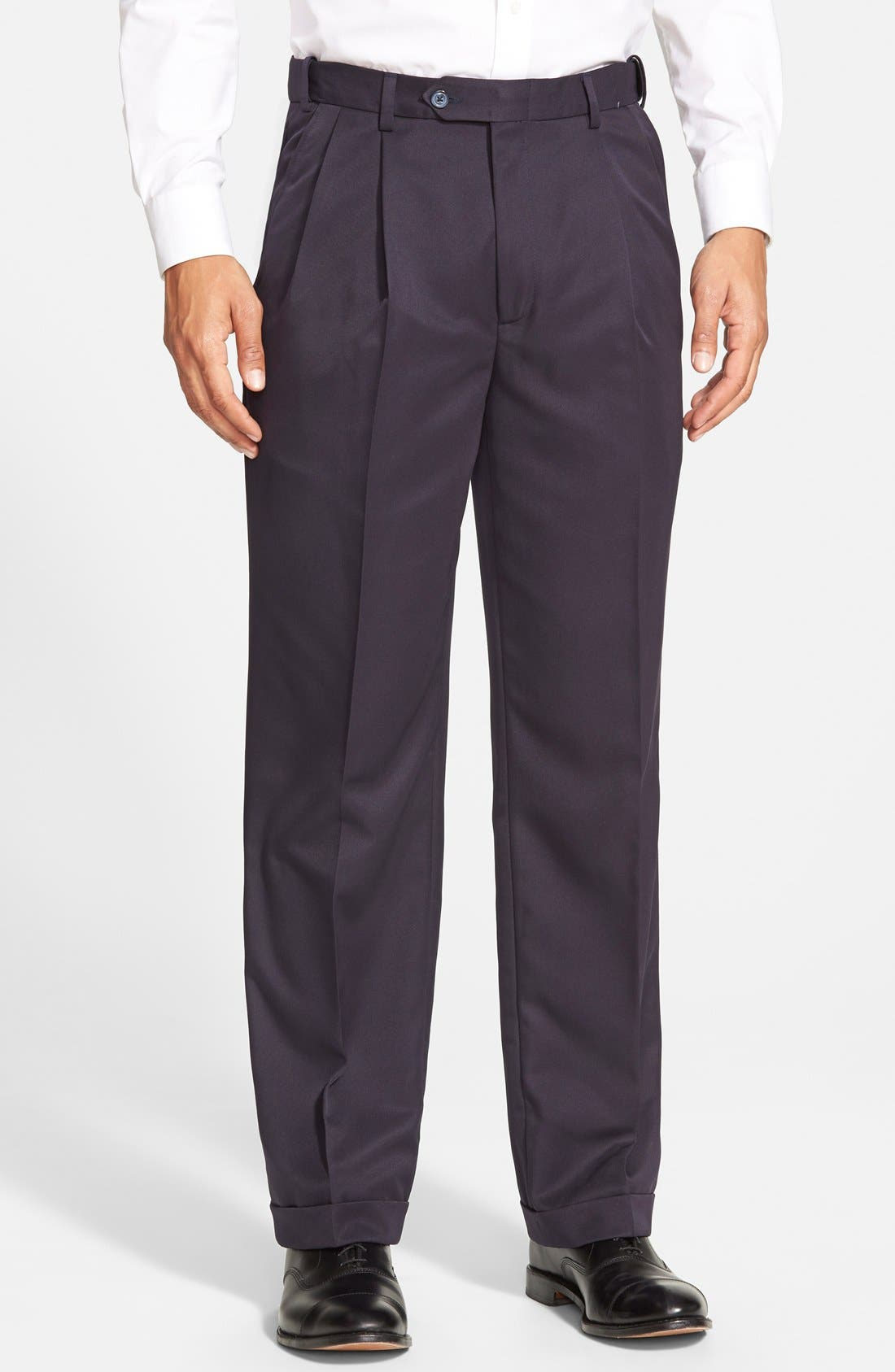 Self Sizer Waist Pleated Classic Fit Microfiber Trousers