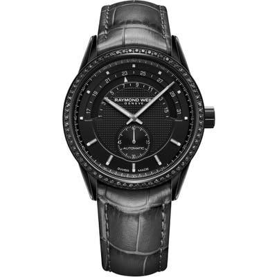 Raymond Weil Freelancer Halfmoon Automatic Leather Strap Watch, 42Mm