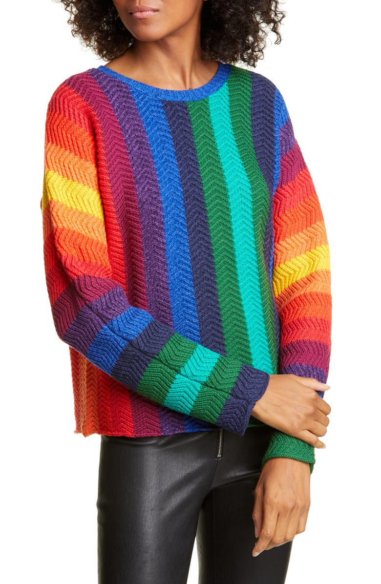 ALICE + OLIVIA Dessie Stripe Racked Wool Blend Sweater, Main, color, MULTI