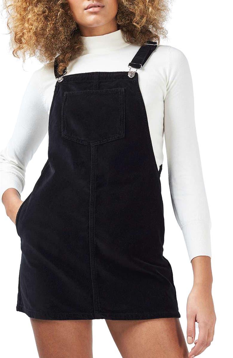 TOPSHOP Velvet Pinafore Dress, Main, color, 001