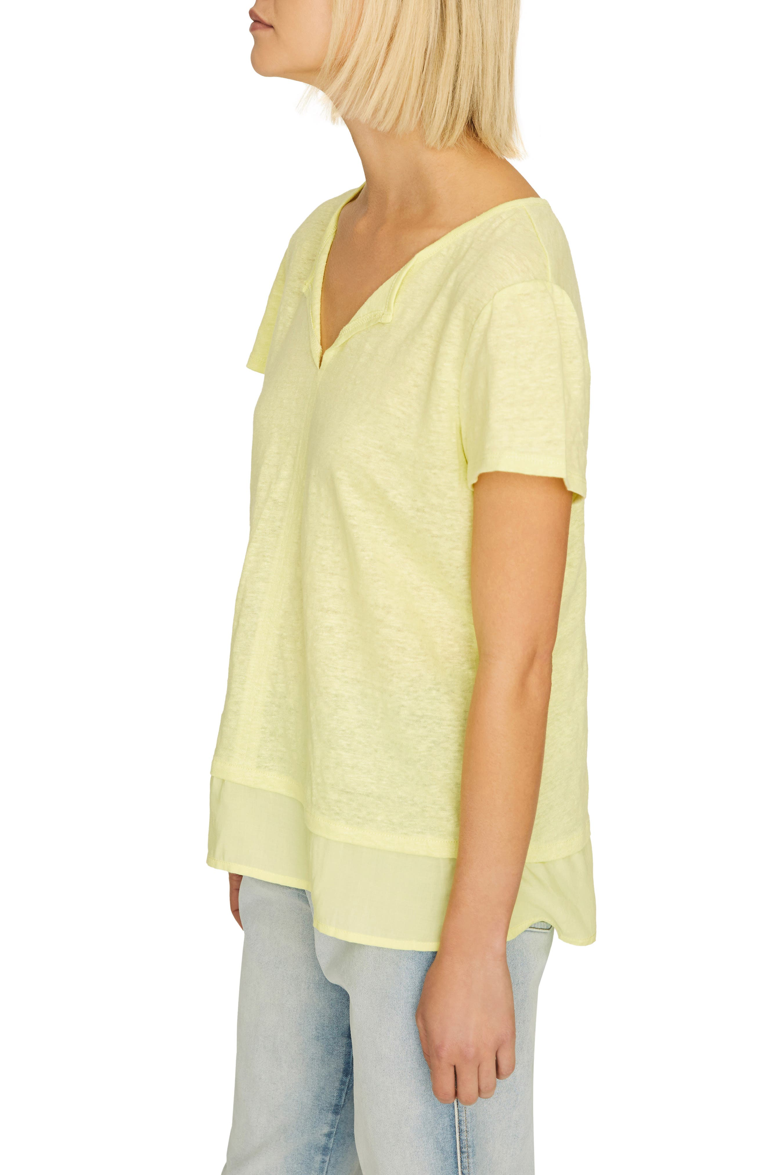 ,                             Uptown Linen Tee,                             Alternate thumbnail 3, color,                             ICE LIME