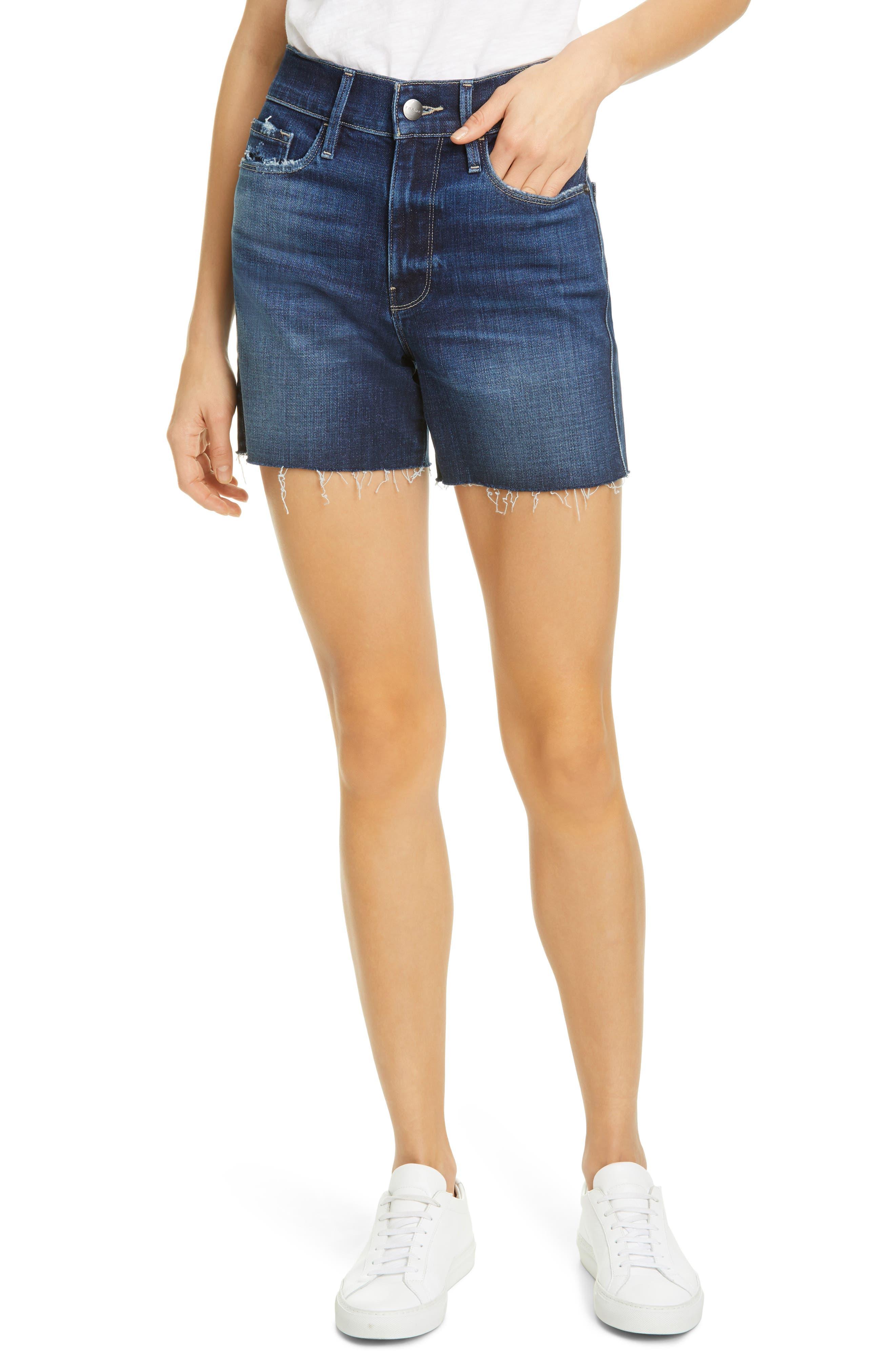 Women's Frame Le Tour High Waist Denim Shorts,  32 - Blue