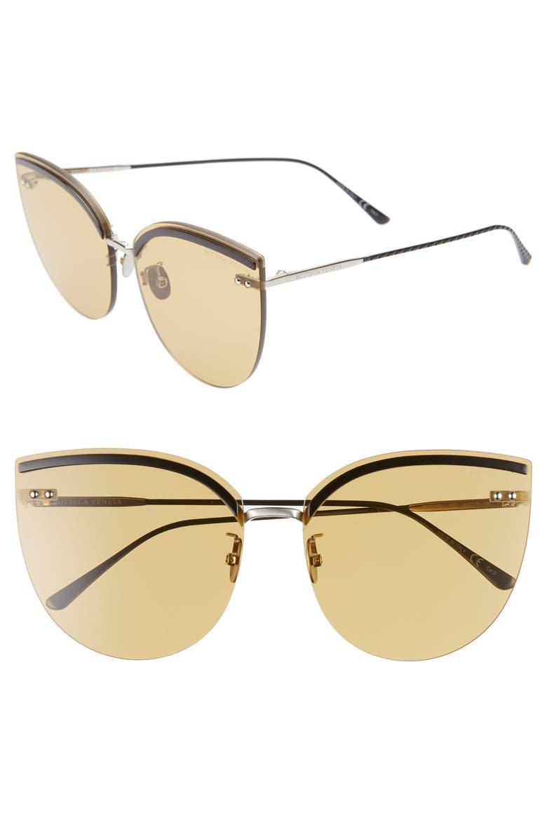 BOTTEGA VENETA 62mm Oversize Rimless Cat Eye Sunglasses, Main, color, SILVER/ / BLACK/ YELLOW