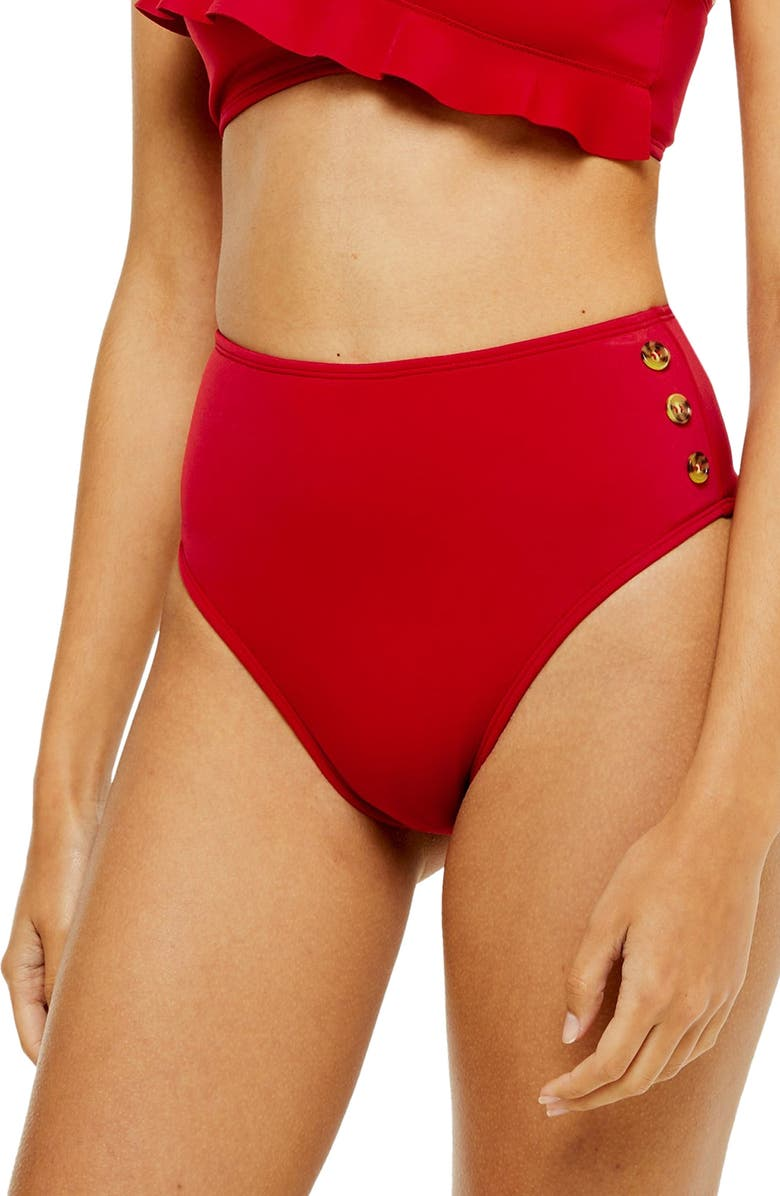 TOPSHOP Button High Waist Bikini Bottoms, Main, color, RED