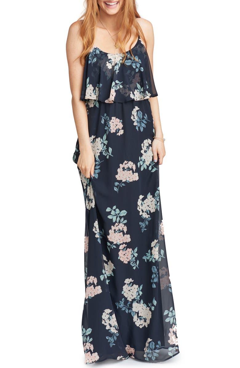 SHOW ME YOUR MUMU Caitlin Cold Shoulder Chiffon Gown, Main, color, 010
