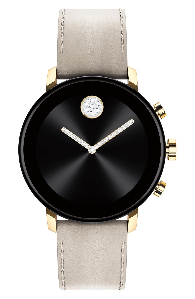 MOVADO Bold Connect 2.0 Leather Strap Smart Watch, 40mm, Main, color, LIGHT GREY / GOLD