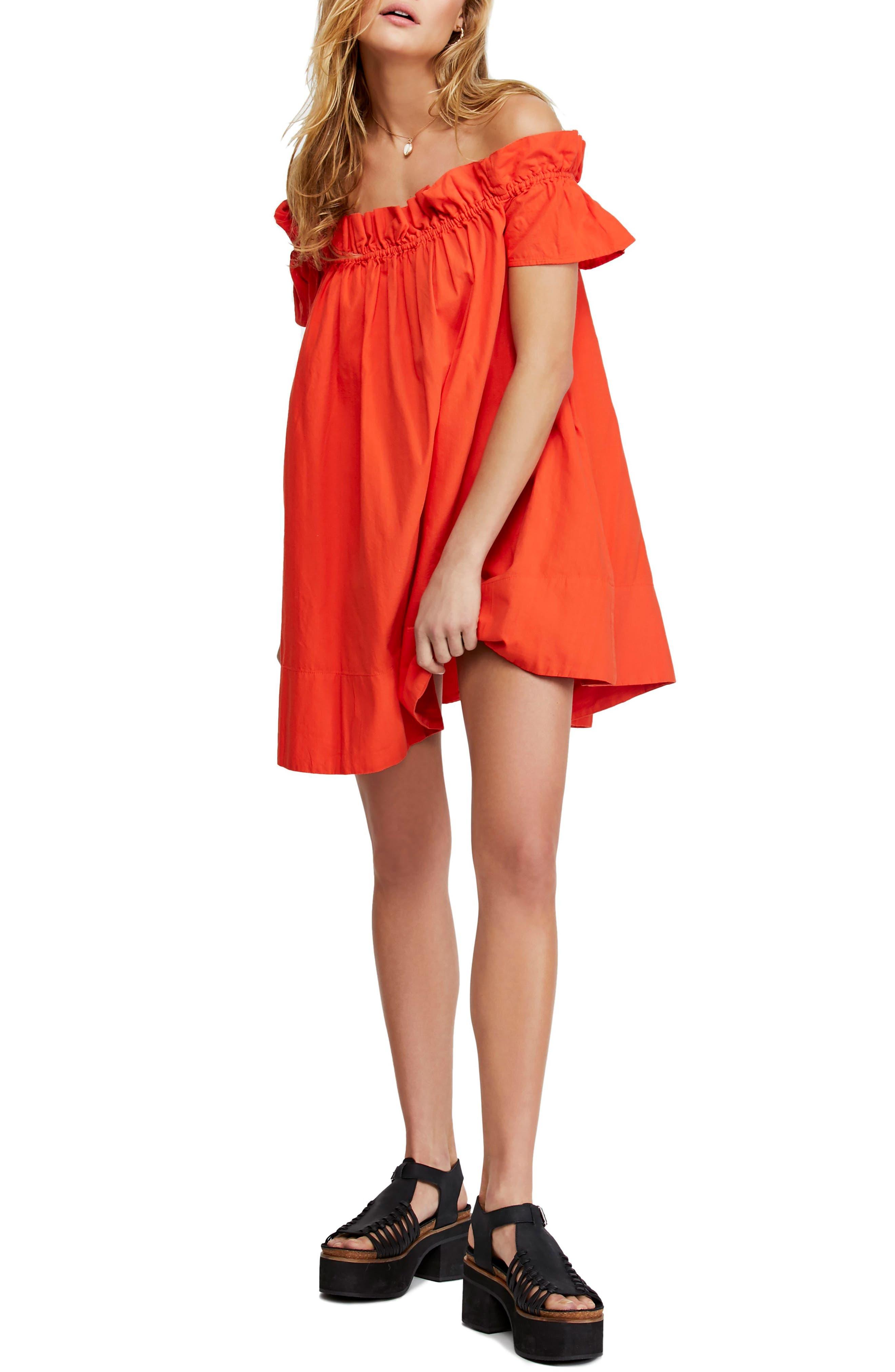 Free People Sophie Off The Shoulder Dress, Orange
