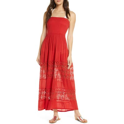 Chelsea28 Farrah Smocked Cover-Up Maxi Dress, Red