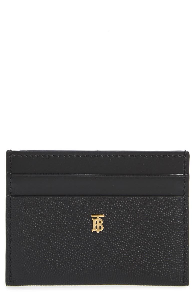 BURBERRY Sandon TB Monogram Leather Card Case, Main, color, BLACK