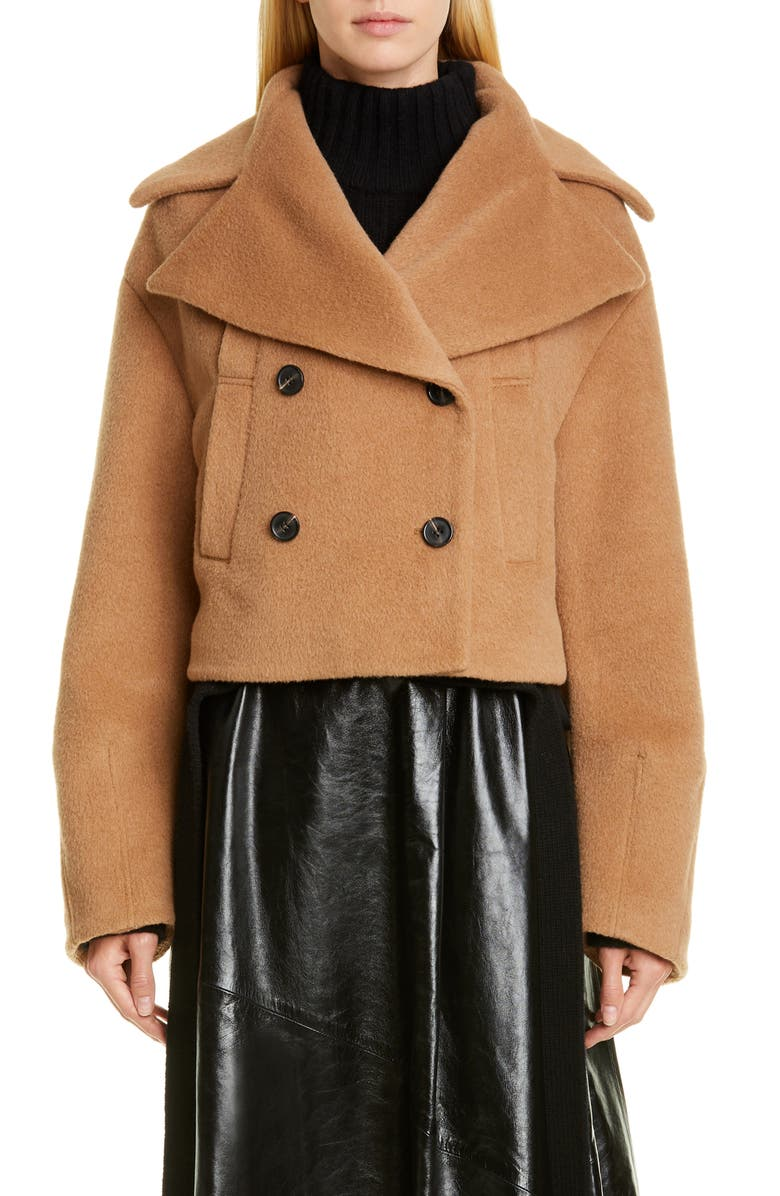 PROENZA SCHOULER Double Breasted Crop Coat, Main, color, CAMEL