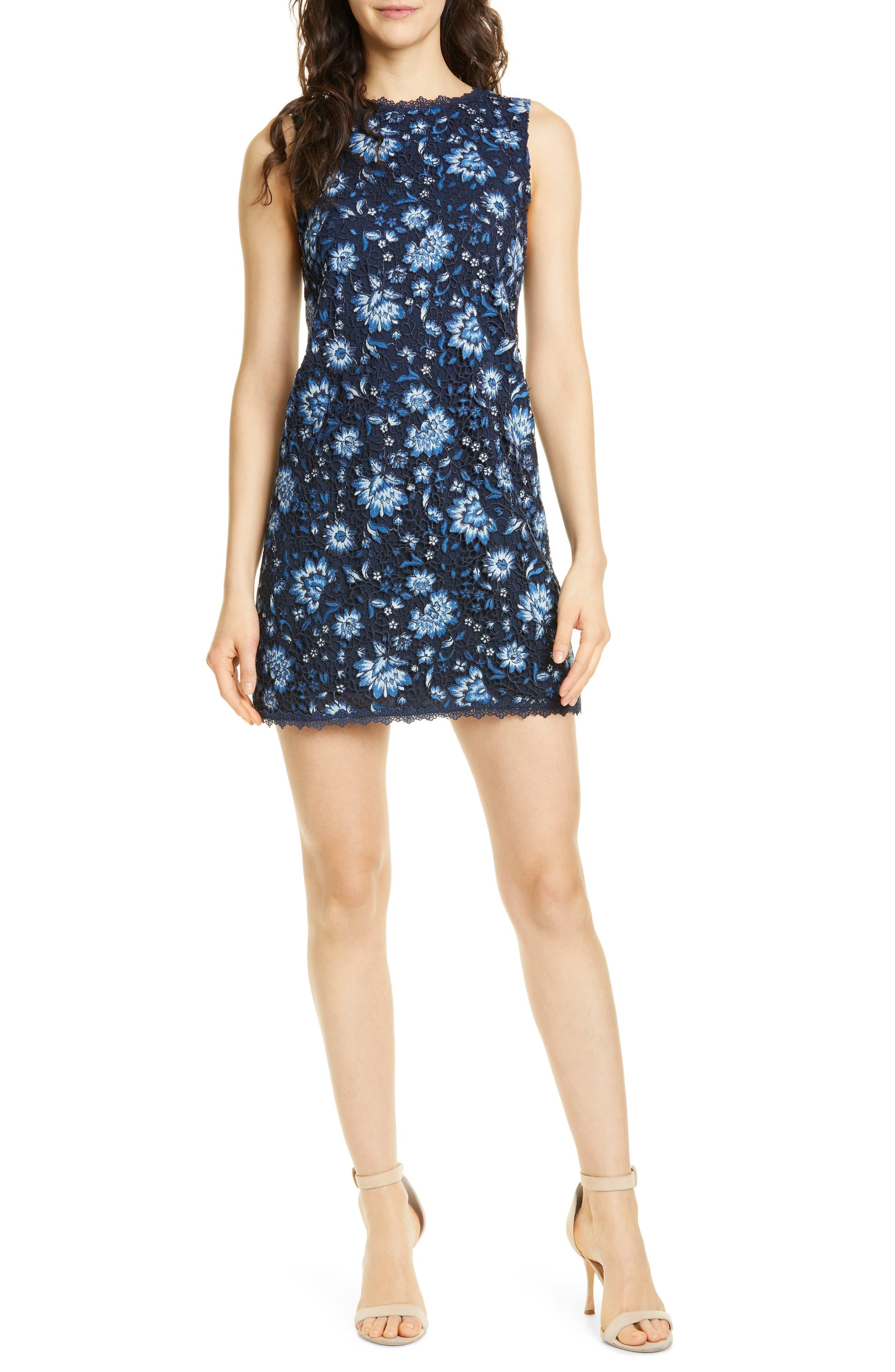 Alice + Olivia Clyde Lace Sheath Dress, Blue