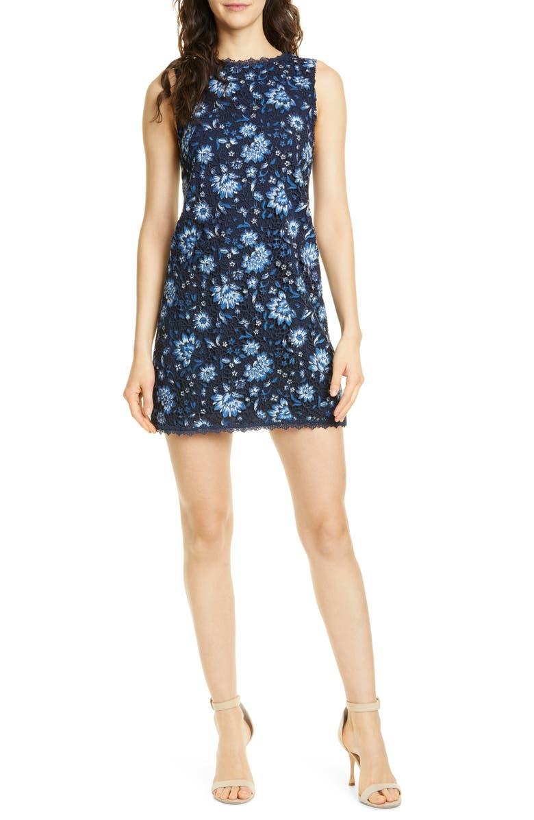 ALICE + OLIVIA Clyde Lace Sheath Dress, Main, color, CORNFLOWER/ MULTI