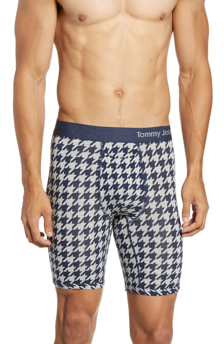 TOMMY JOHN Cool Cotton Print Boxer Briefs, Main, color, HOUNDSTOOTH DRESS BLUES