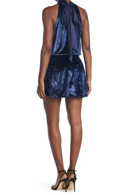 Image of Ramy Brook Lori Metallic Velvet Sleeveless Mini Dress