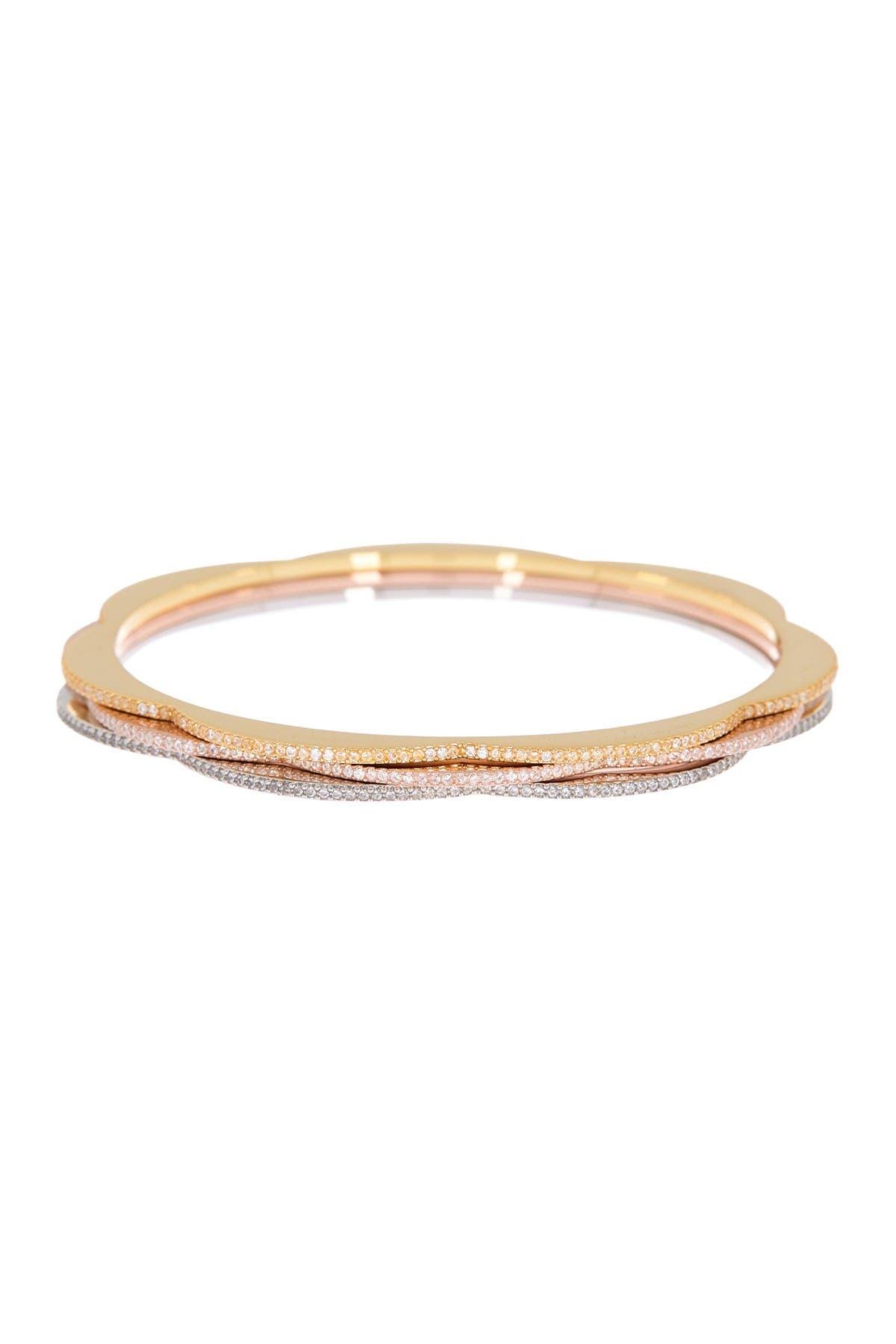 Image of kate spade new york cz pave scalloped bangle bracelet set