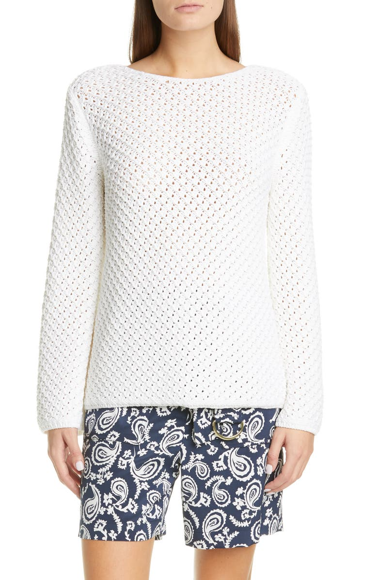 ST. JOHN COLLECTION Bell Sleeve Basketweave Knit Sweater, Main, color, WHITE