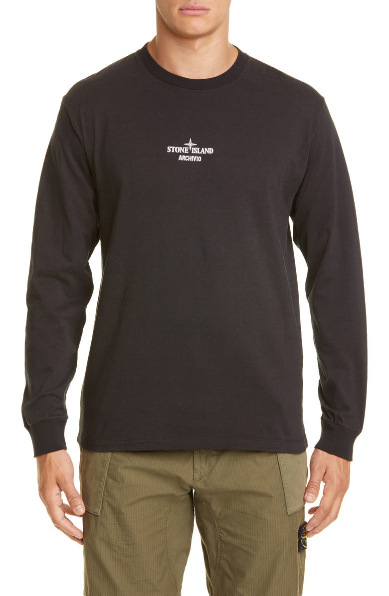 STONE ISLAND Long Sleeve Product T-Shirt, Main, color, BLACK