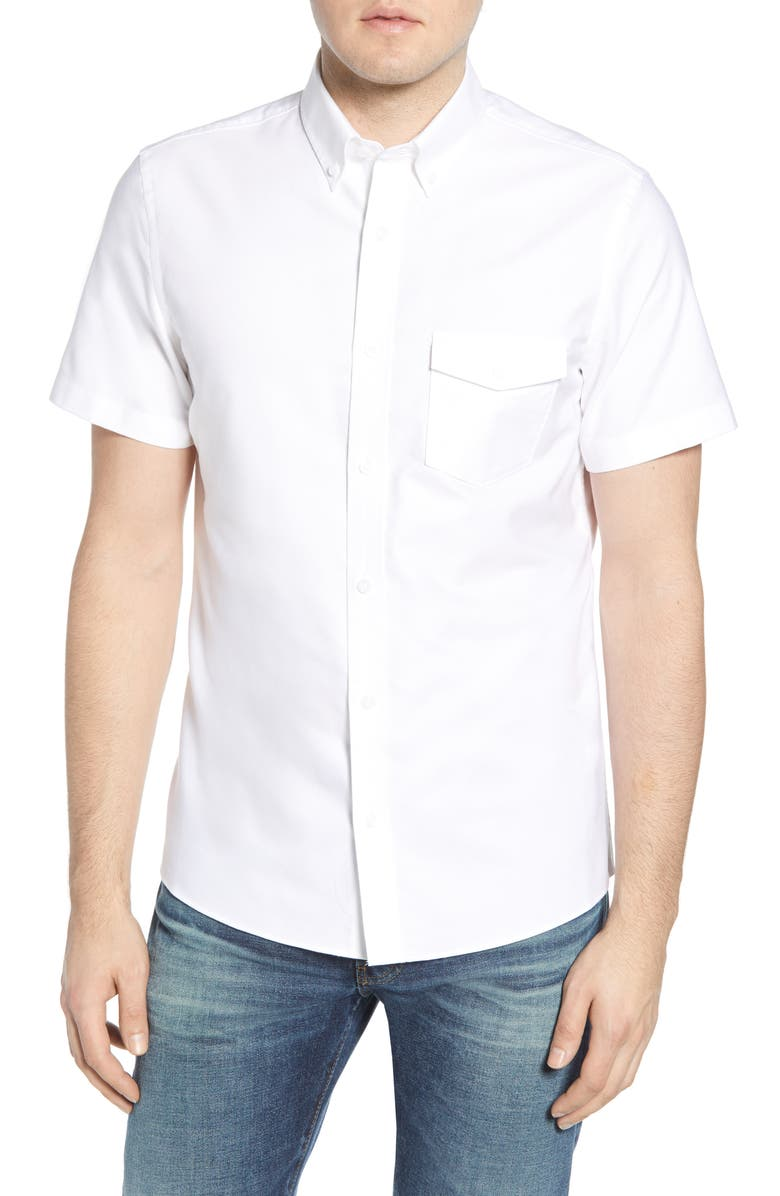 1901 Trim Fit Short Sleeve Button-Down Shirt, Main, color, WHITE OXFORD