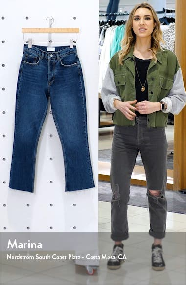 The Darcy High Waist Raw Hem Crop Flare Jeans, sales video thumbnail