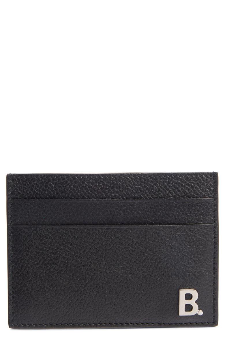 BALENCIAGA Calfskin Leather Card Holder, Main, color, BLACK