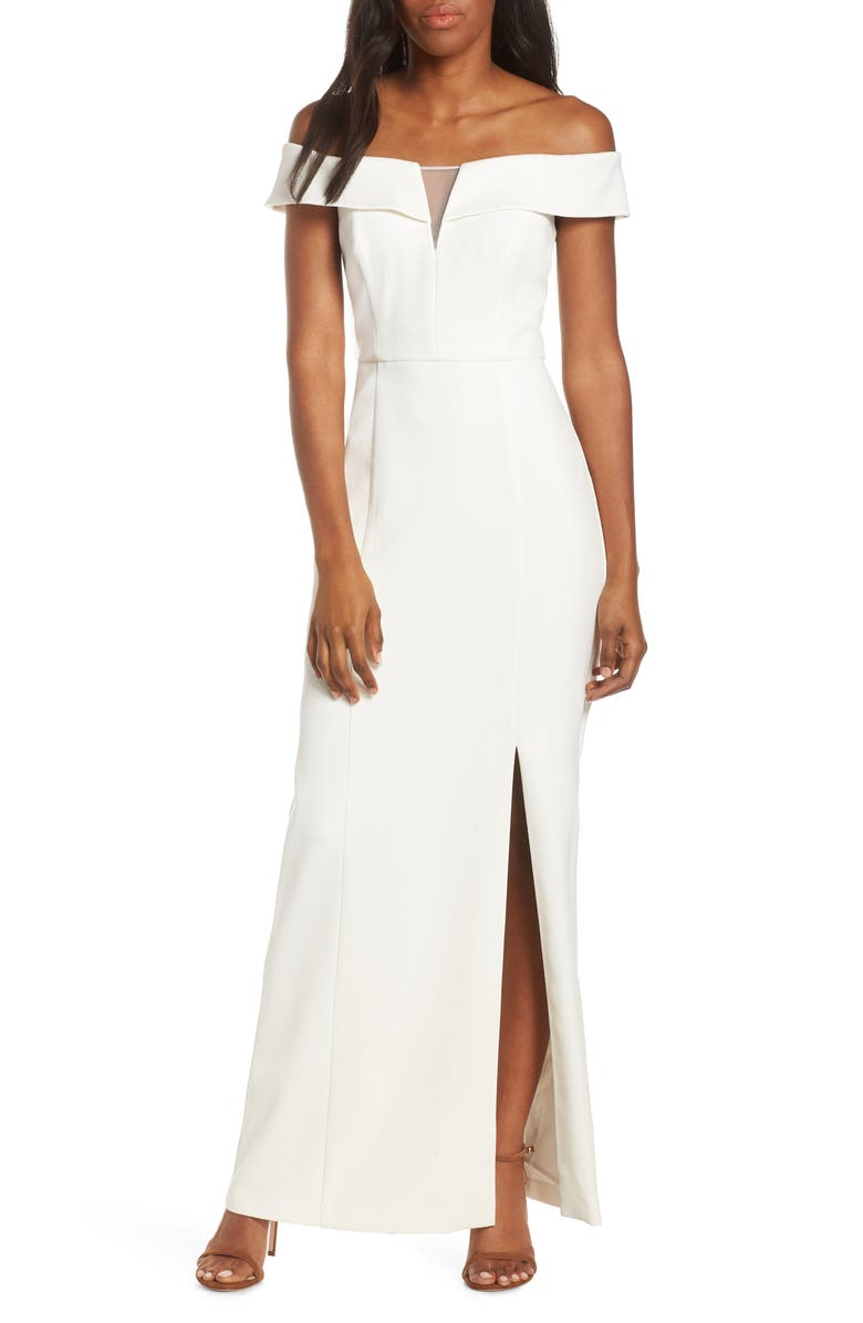 VINCE CAMUTO Notched Off the Shoulder Crepe Gown, Main, color, IVORY