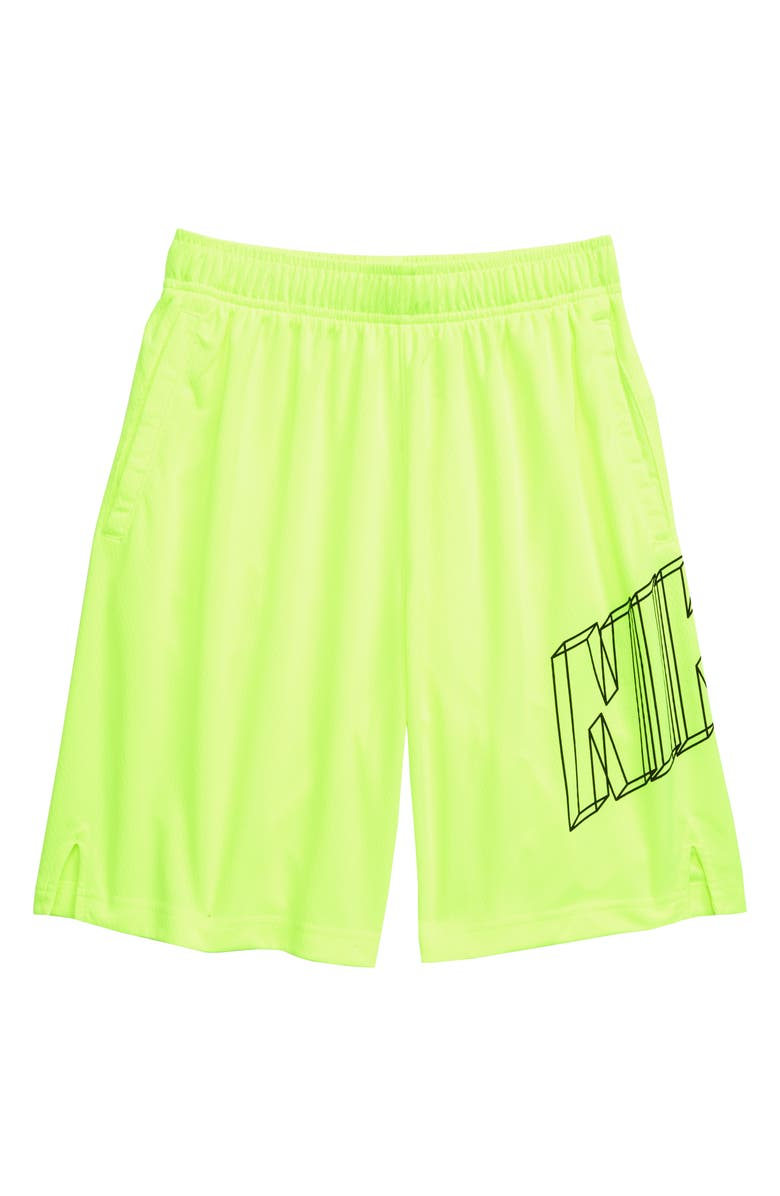NIKE Dry GFX Athletic Shorts, Main, color, VOLT