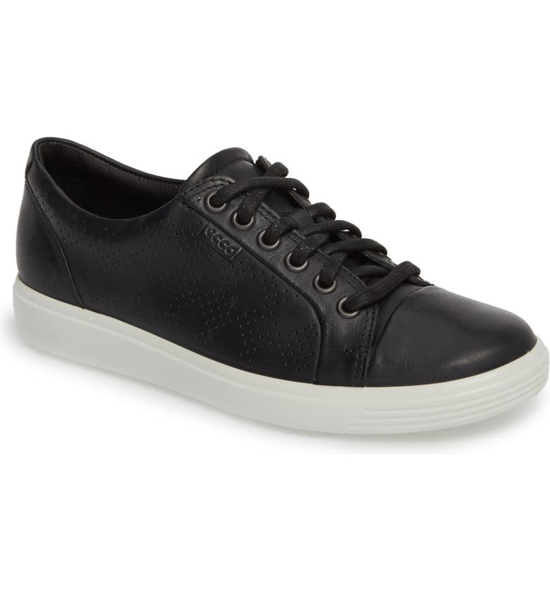 ECCO Soft 7 Sneaker, Main, color, BLACK LEATHER