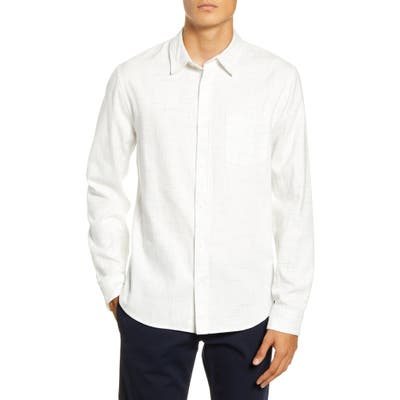 Vince Regular Fit Button-Up Flannel Shirt, White