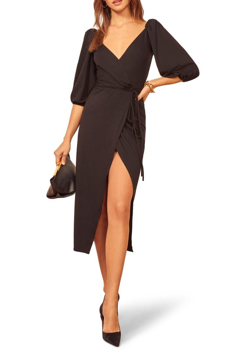 REFORMATION Calabra Wrap Dress, Main, color, BLACK