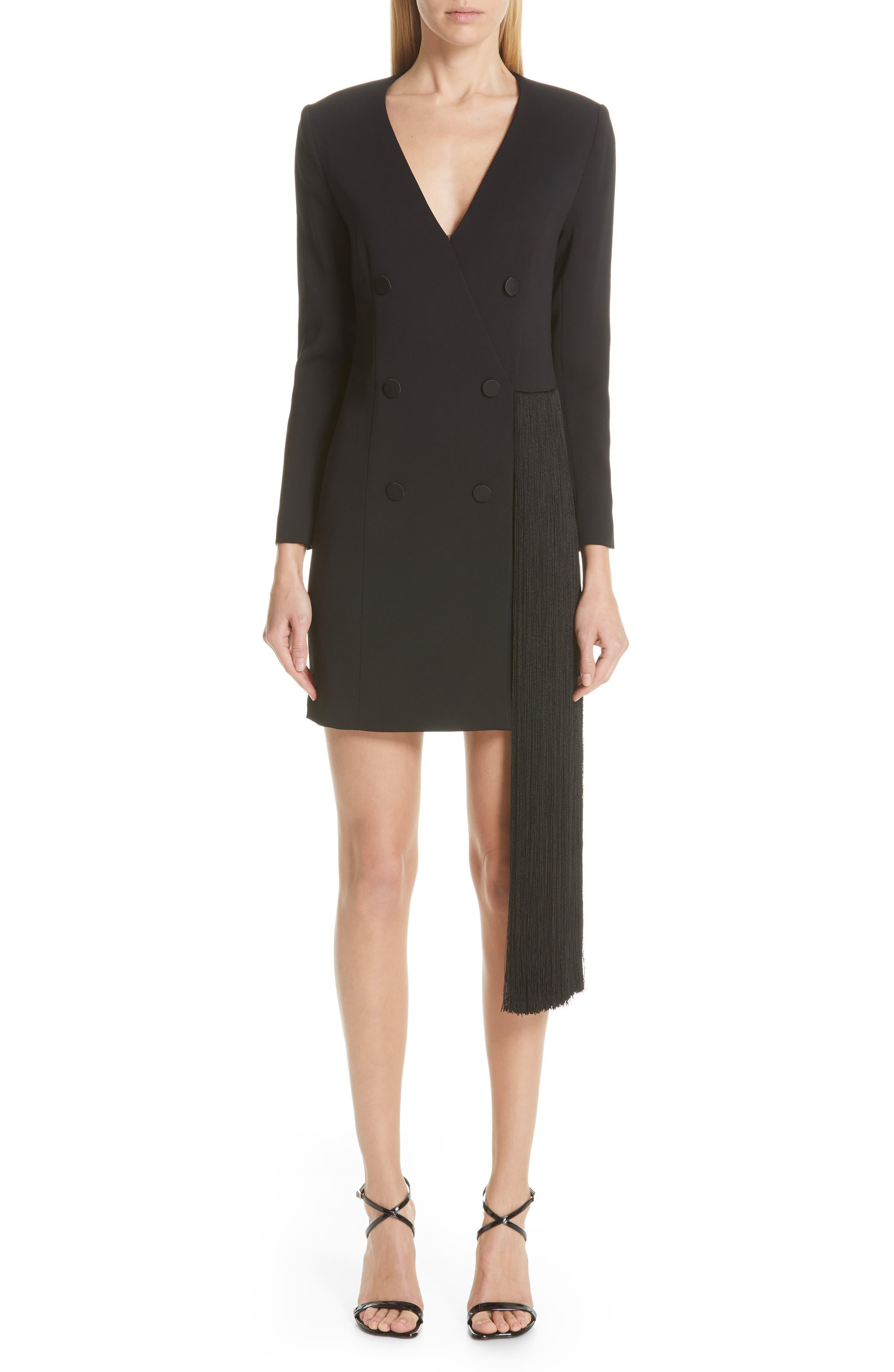 women's adam lippes fringe trim stretch crepe tuxedo dress, size 0 - black