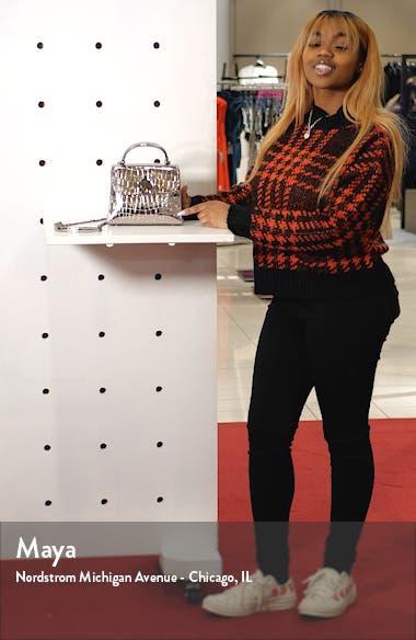 romy metallic croc-embossed leather top handle bag, sales video thumbnail