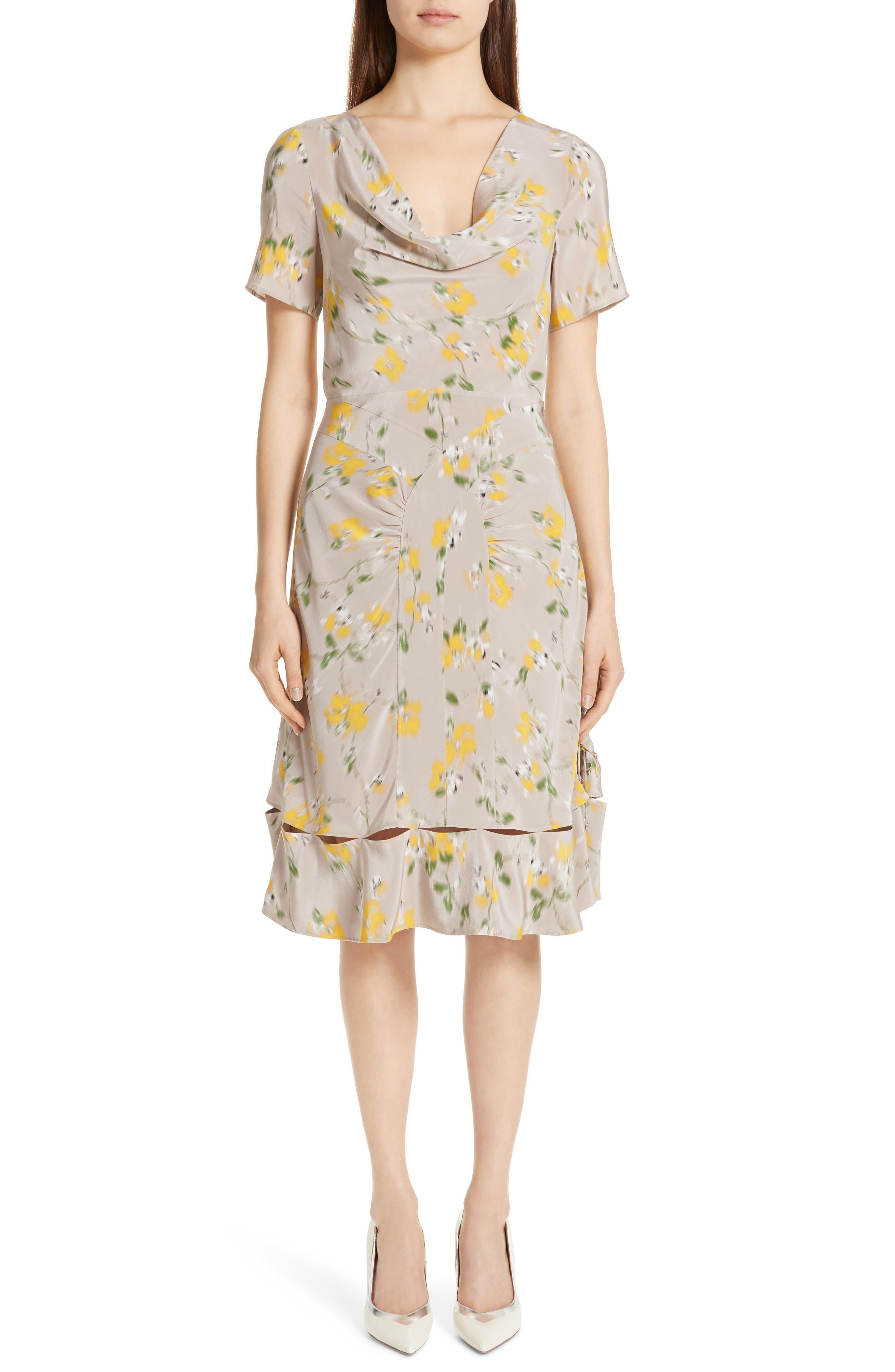 Altuzarra Cowl Neck Floral Print Silk Dress, 6 FR - Beige