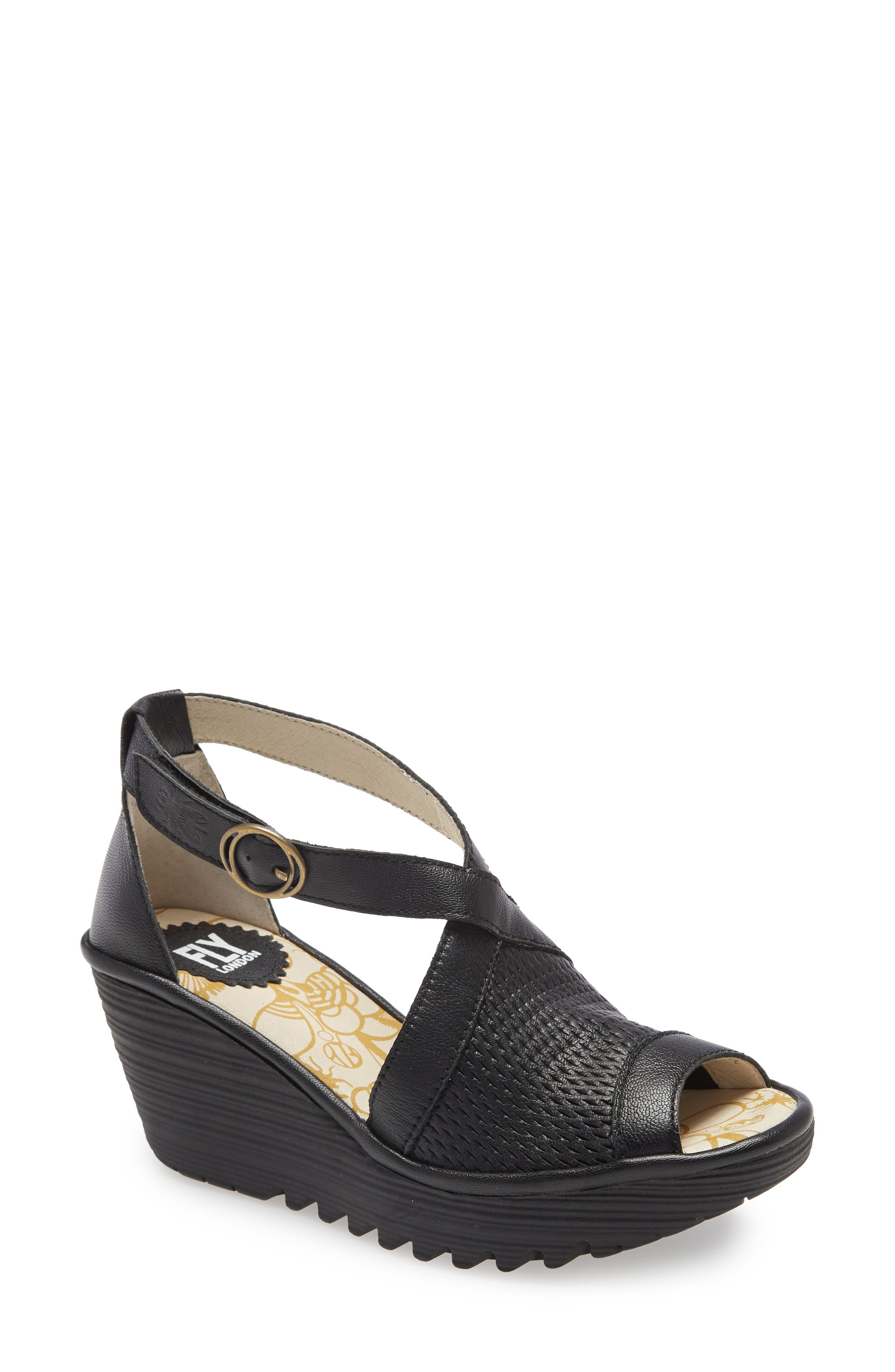 Fly London Women/'s Trim Leather Black Wegde Heeled Sandals