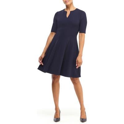 Maggy London Notch Neck Fit & Flare Dress, Blue