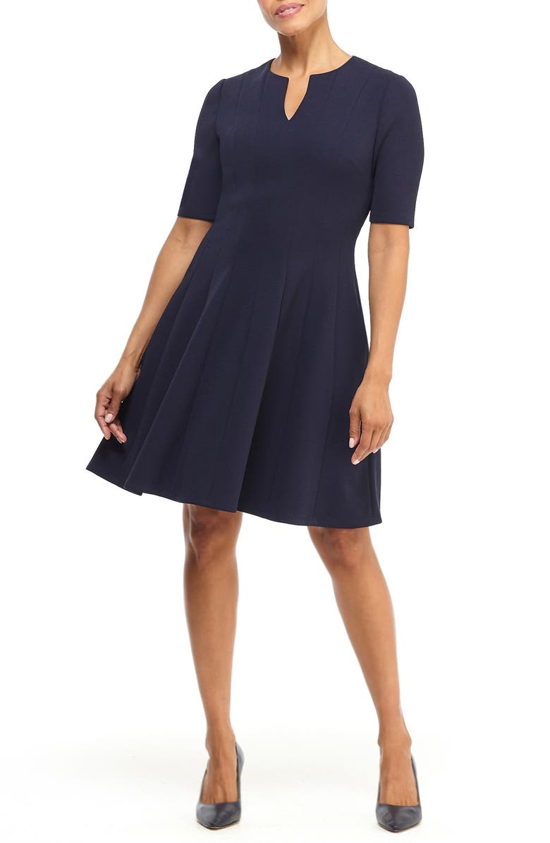 MAGGY LONDON Notch Neck Fit & Flare Dress, Main, color, NAVY