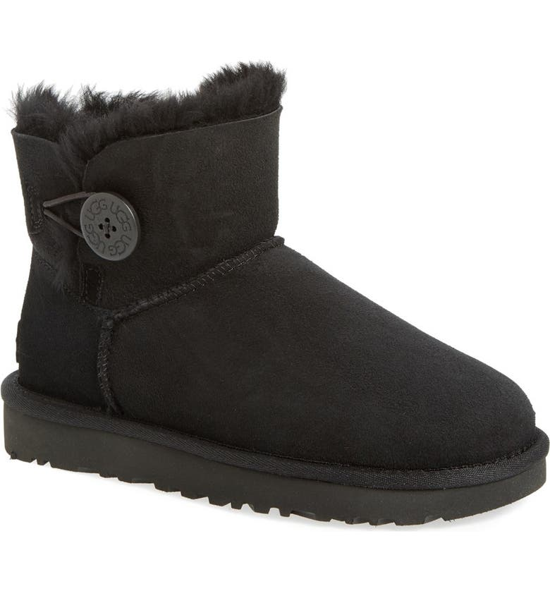 UGG<SUP>®</SUP> Mini Bailey Button II Genuine Shearling Boot, Main, color, BLACK SUEDE