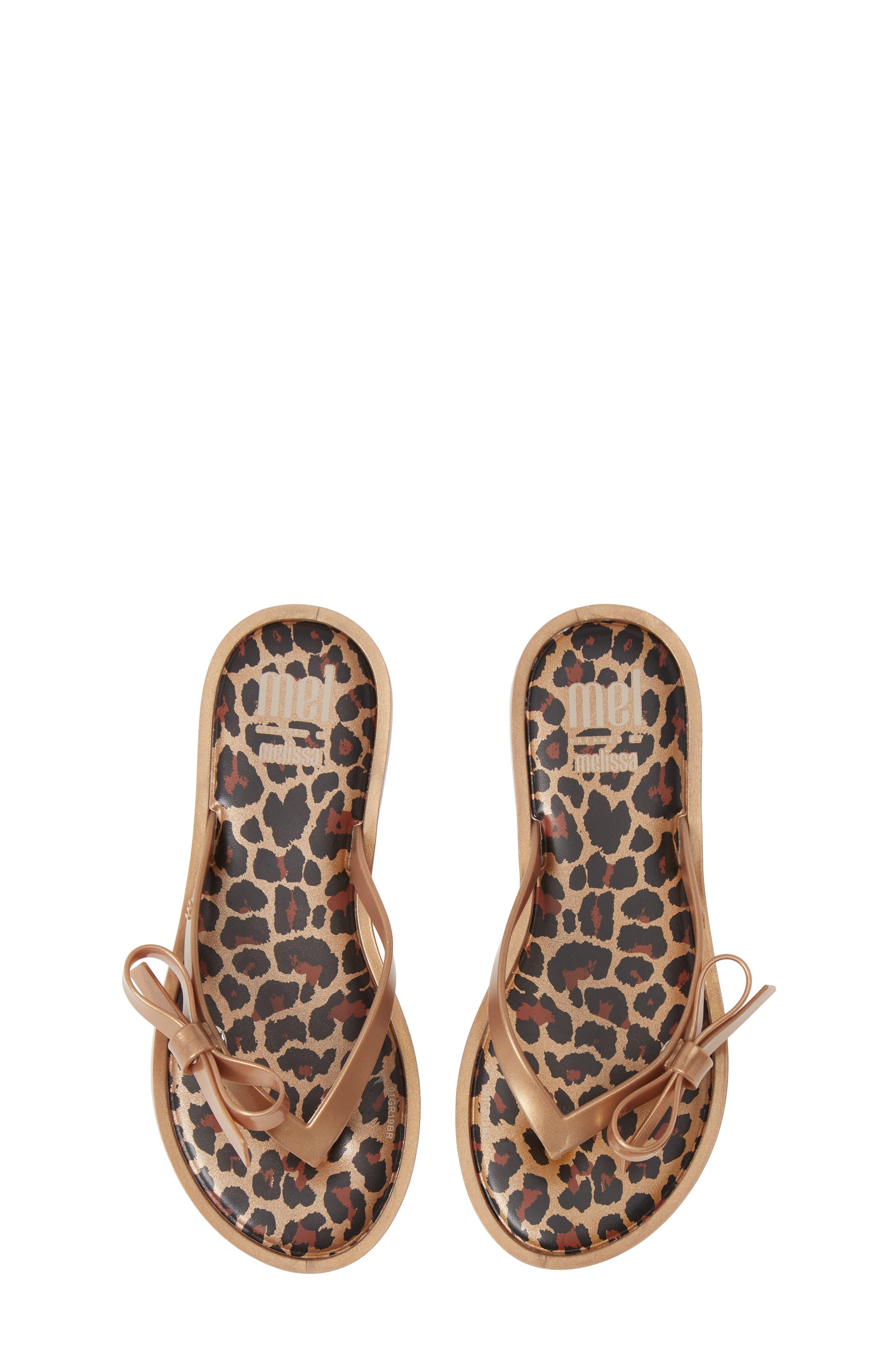 Toddler Girls Mel By Melissa Bow Flip Flop Sandal Size 11 M  Metallic
