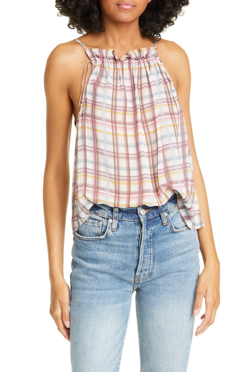 DOLAN Melanie High Neck Swing Camisole, Main, color, BLANC PLAID