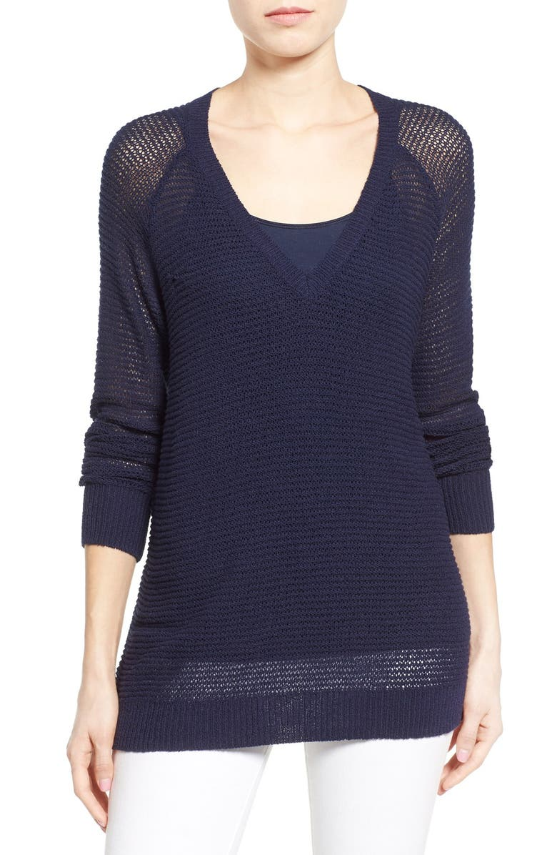 HALOGEN<SUP>®</SUP> Textured Cotton V-Neck Sweater, Main, color, 410