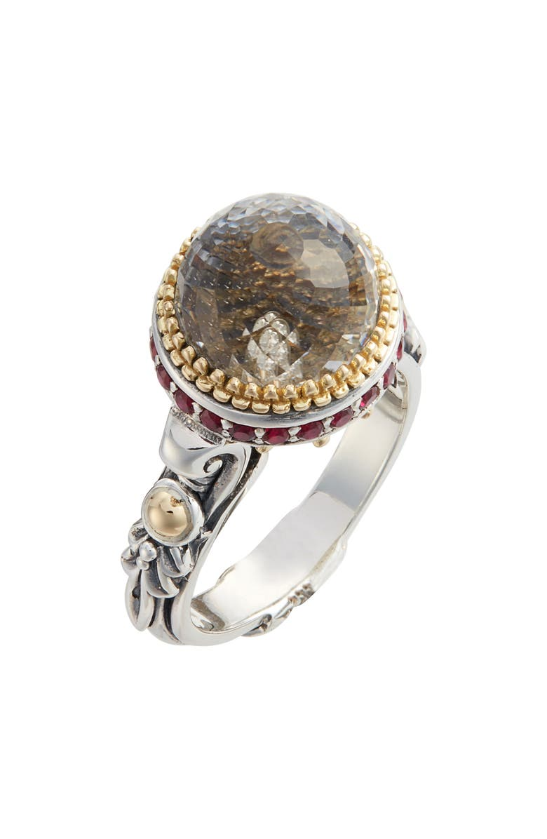 KONSTANTINO Pythia Small Crystal Ring, Main, color, SILVER/ CRYSTAL