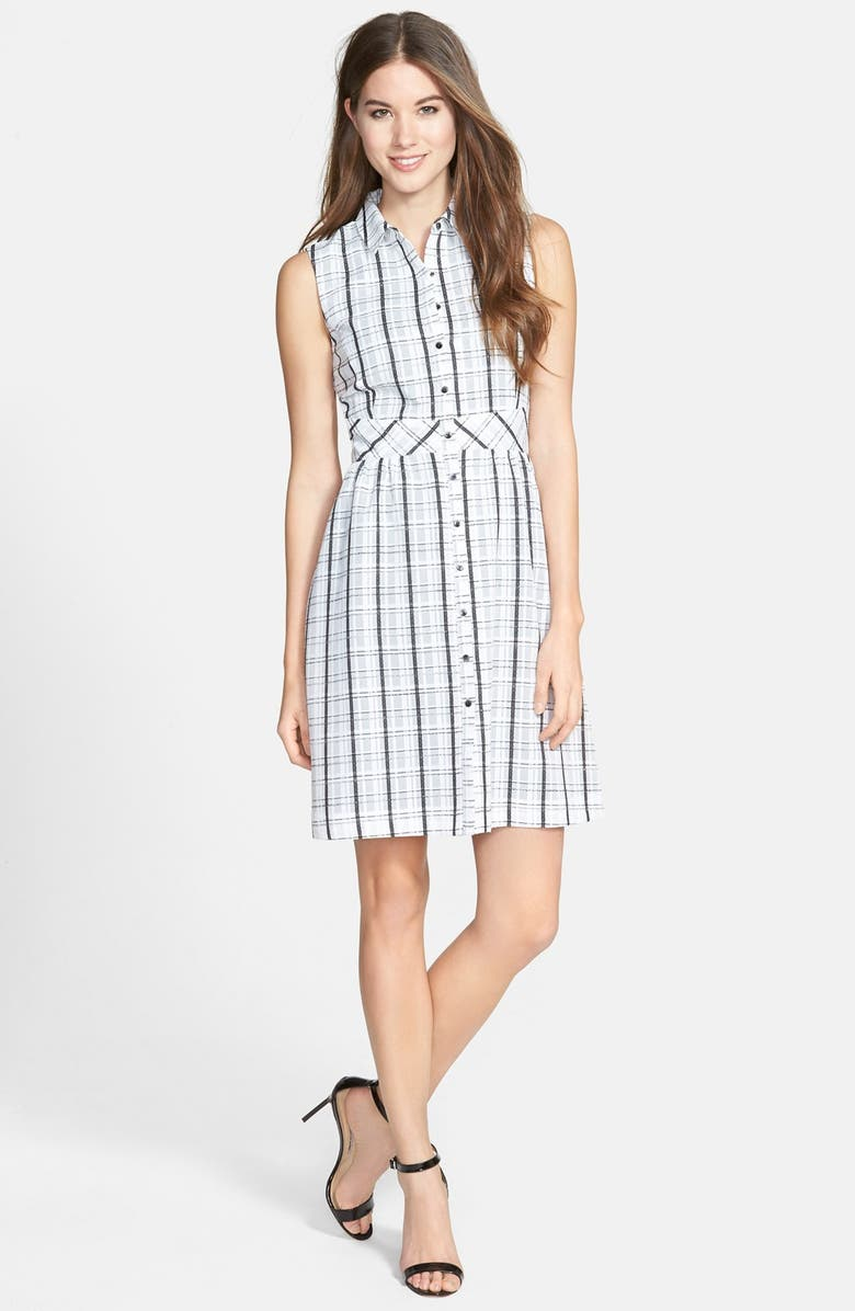 HALOGEN<SUP>®</SUP> Plaid Sleeveless Shirtdress, Main, color, 100