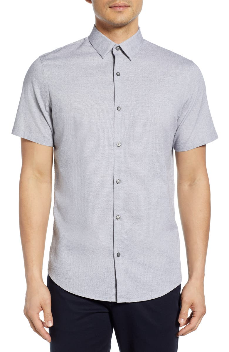 CALIBRATE Jacquard Short Sleeve Button-Up Shirt, Main, color, BLACK WHITE MICRO JACQUARD